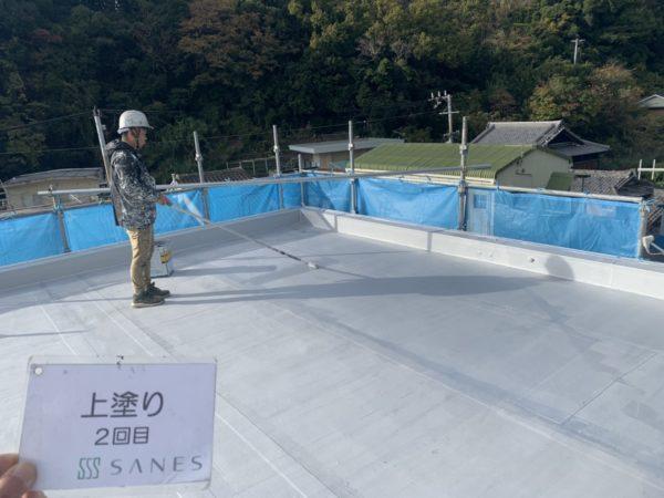 【和歌山県G様邸、作業報告】屋上防水層のトップコート塗装
